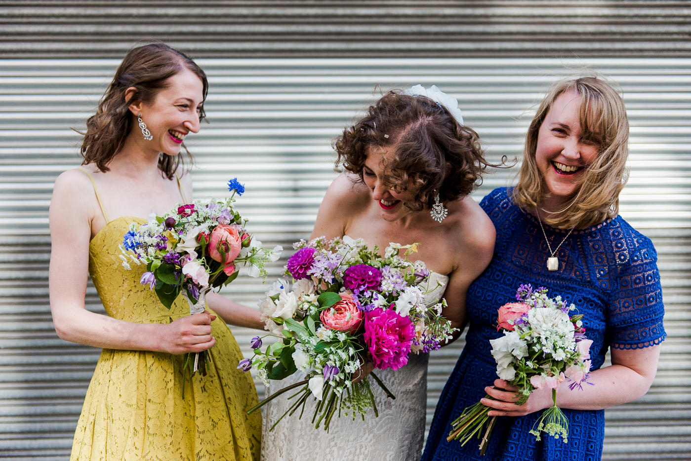 Bridesmaids in jewel tones Easton Pub London wedding photography
