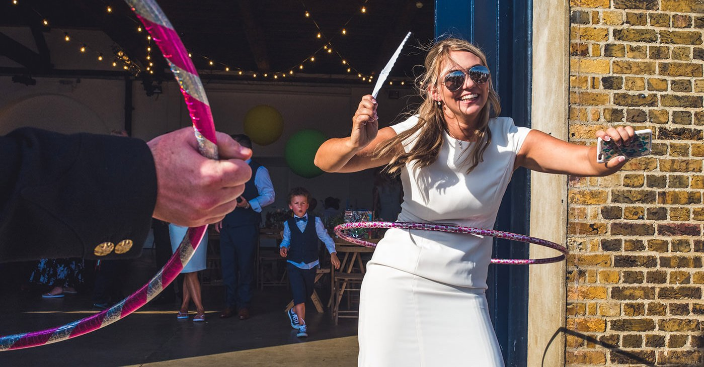 Birmingham Wedding Photographer hulahooping bride