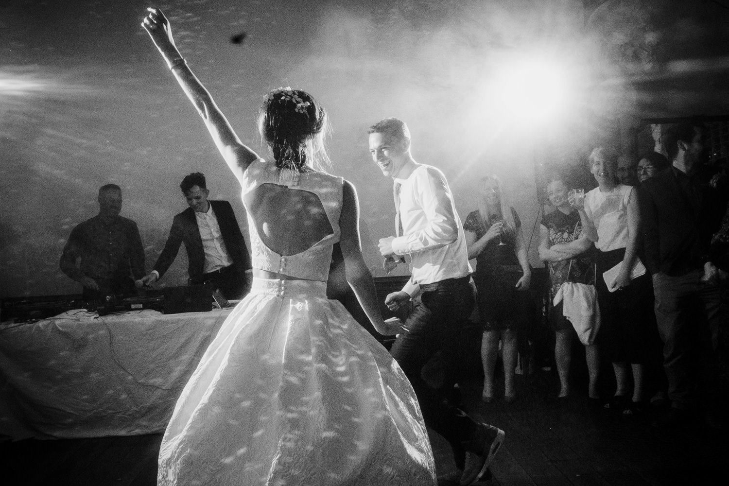 Black and white first dance picture Clapton Country Club wedding photography