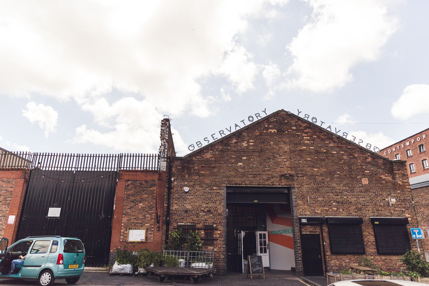 Outside of Constellations Liverpool a warehouse wedding venue