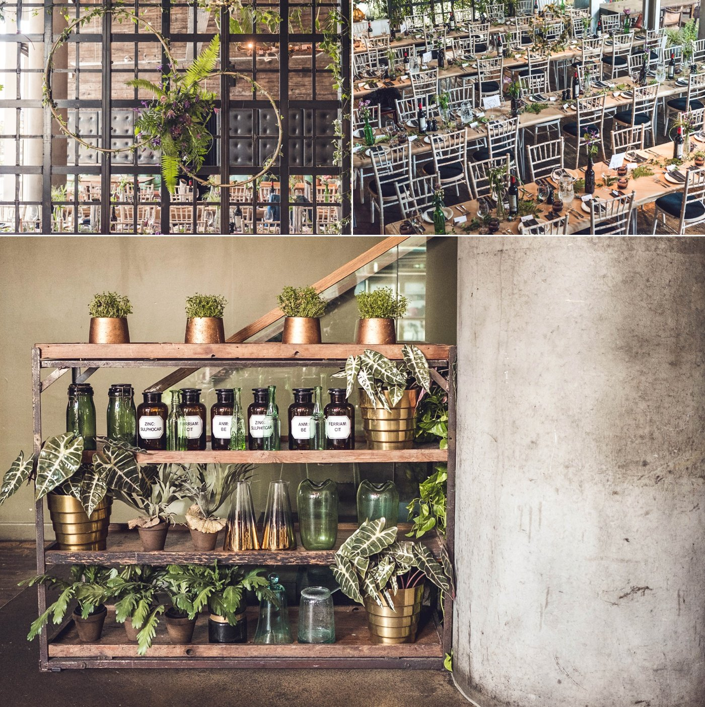 Greenery and apothecary jar styling Refinery Bar Bankside wedding