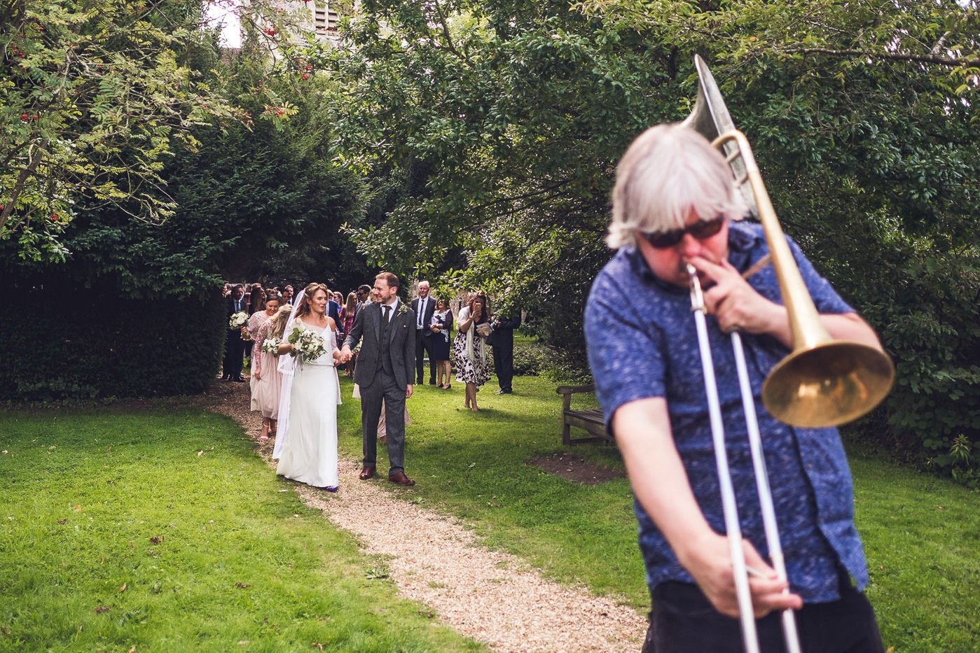 Hackney colliery band leading wedding guests