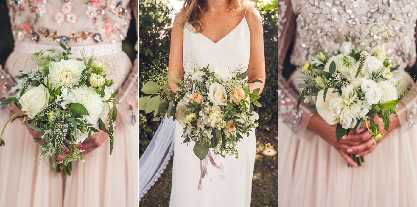Bridesmaids and brides flowers in white and cream by Milly Davey Flowers