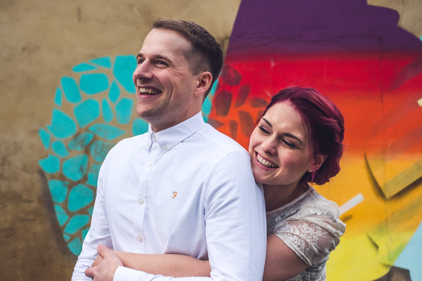 Walthamstow engagement photography graffiti wall