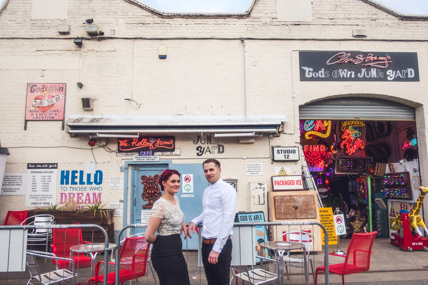 Walthamstow engagement photography Gods Own Junkyard