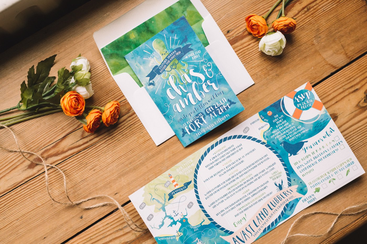 Choosing your wedding stationery nautical themed wedding set in blues and greens