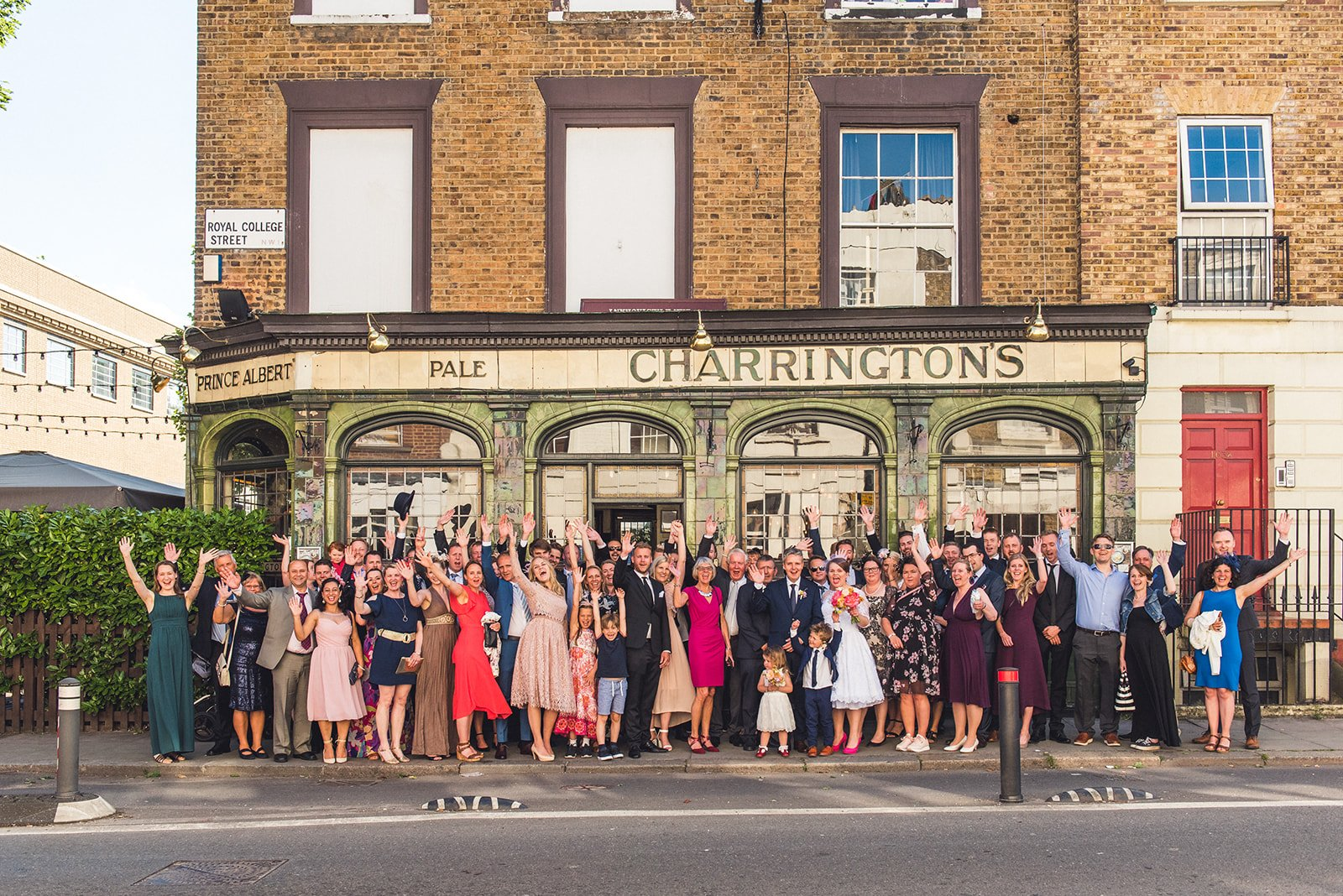 Prince Albert Camden wedding photography guests outside pub