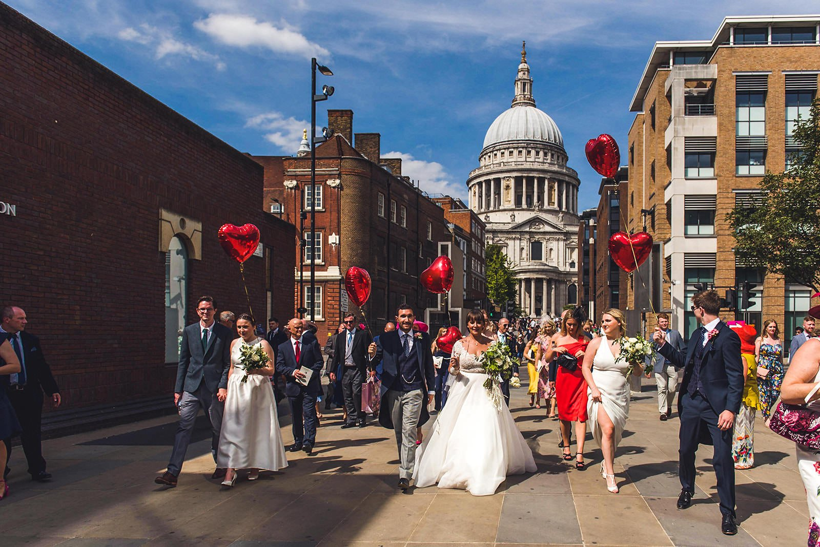 London wedding procession in front of St Pauls