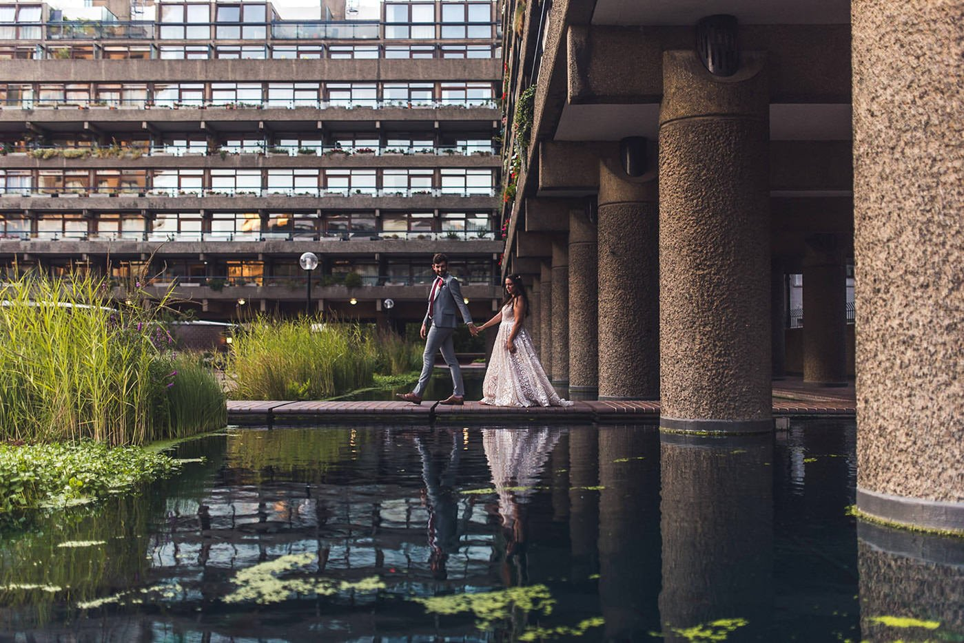 Creative bride and groom portrait at Barbican Conservatory Wedding