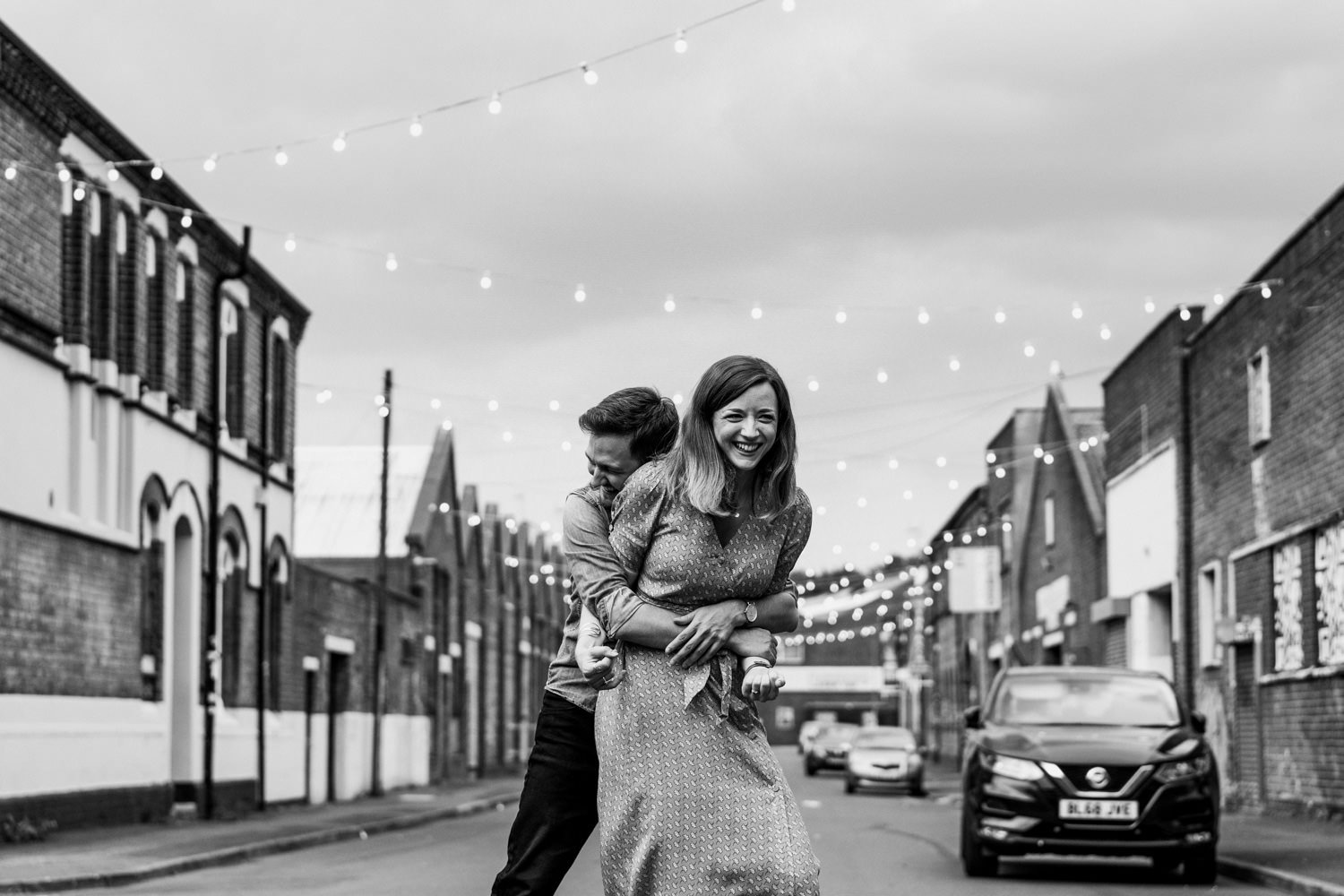 Couple laughing Digbeth Engagement Shoot