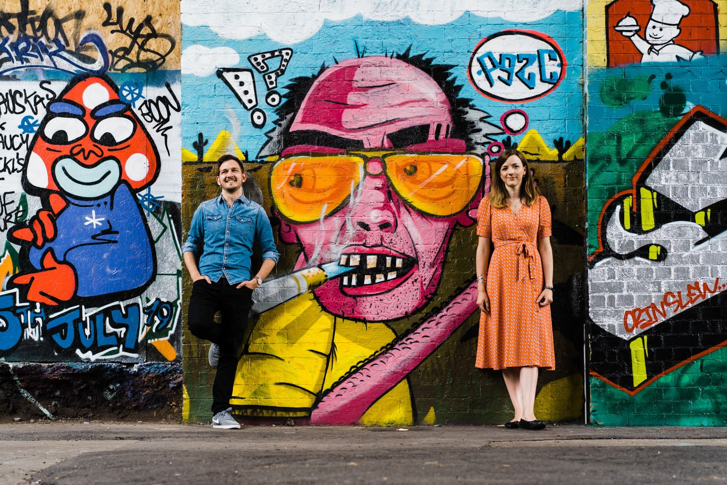 Digbeth Engagement Photo of couple with street art