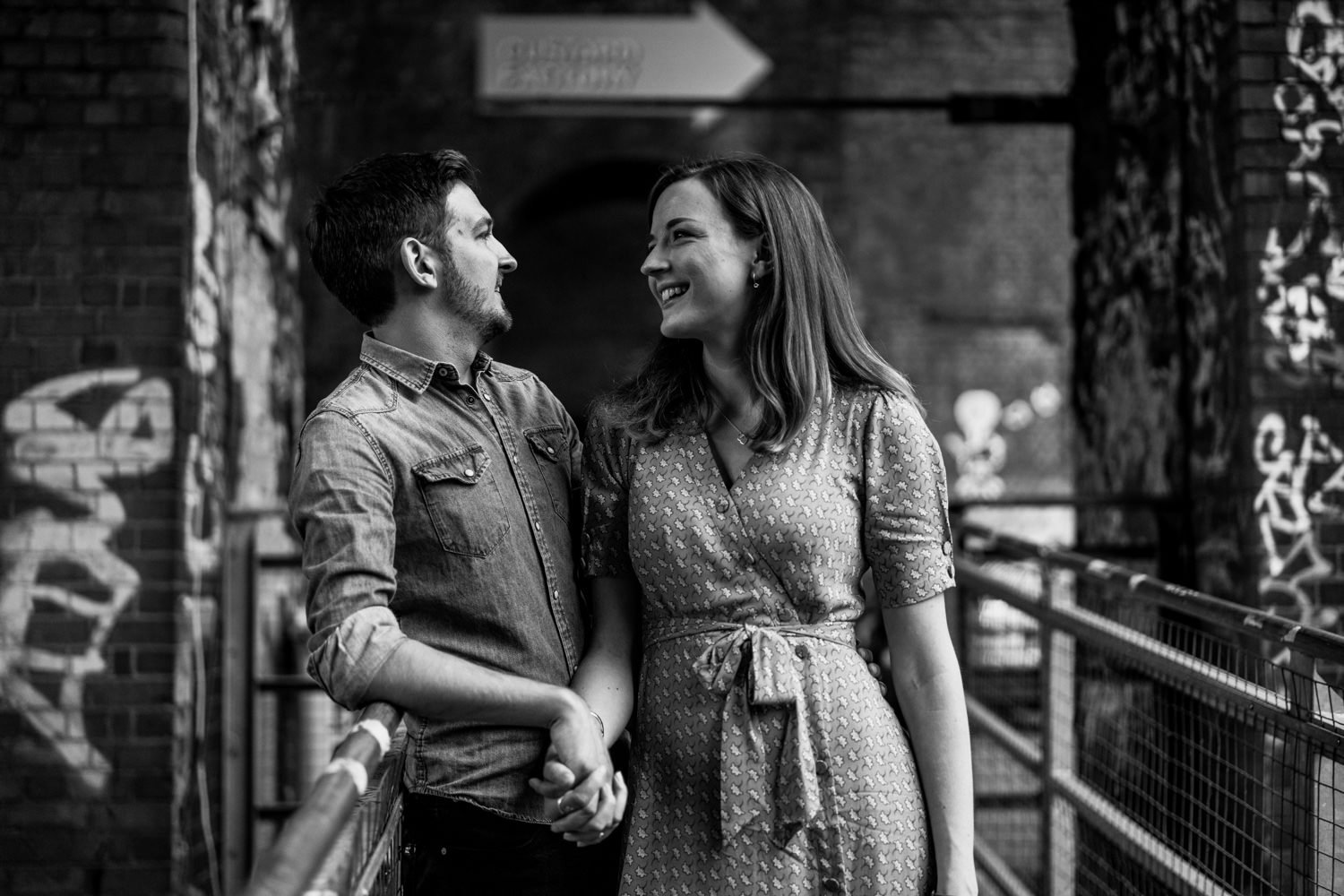 Black and white picture of couple Digbeth Engagement photography