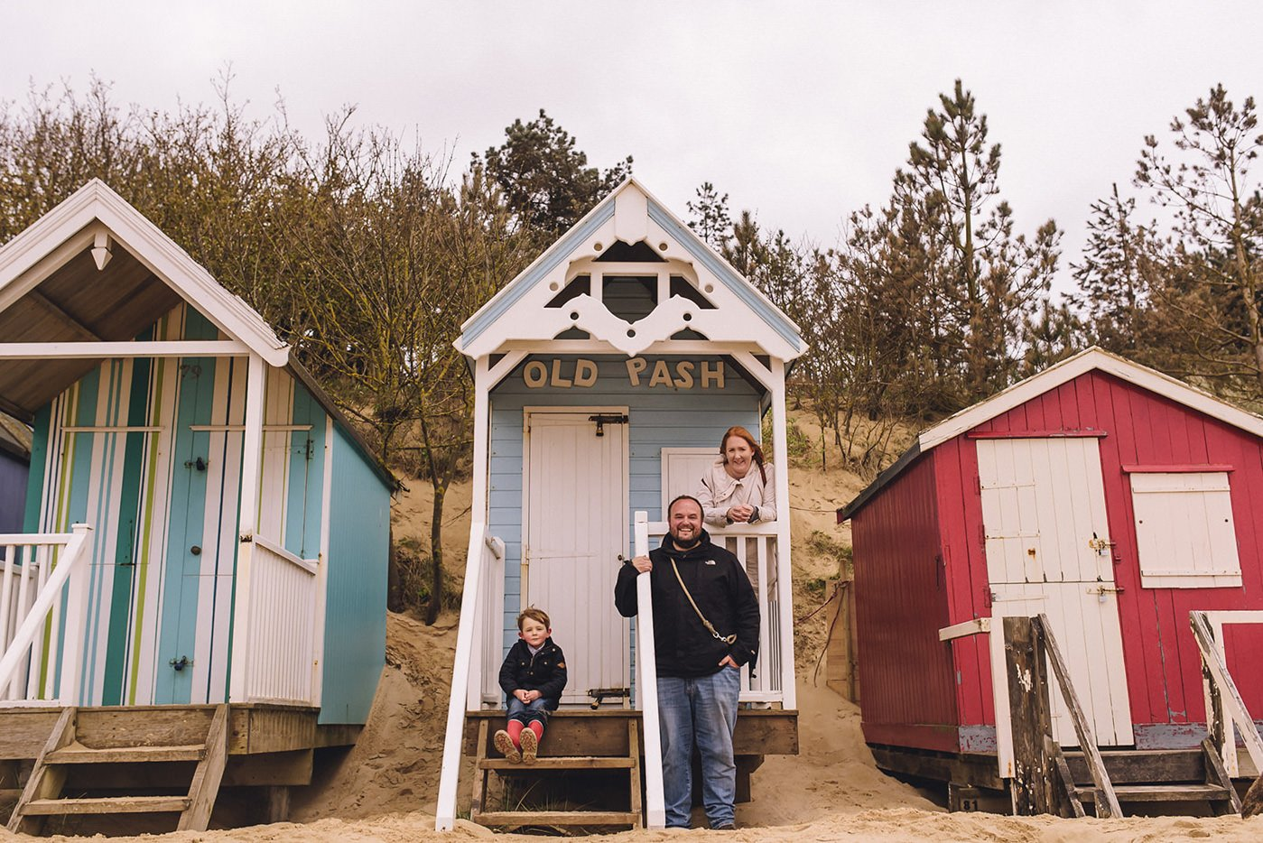 beach hut family portrait