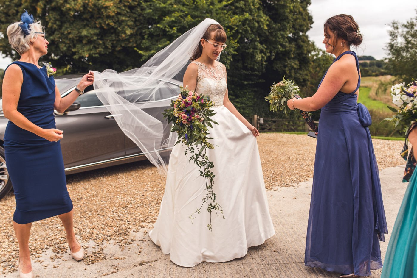 bride arriving at Priston Mill