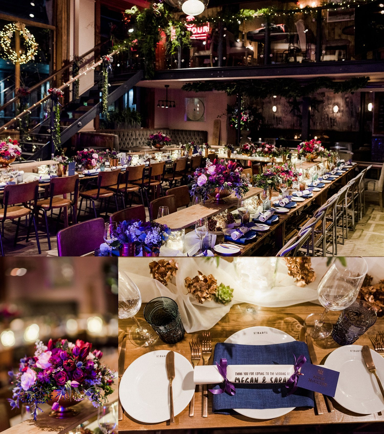 Purple and red wedding styling for Christmas wedding
