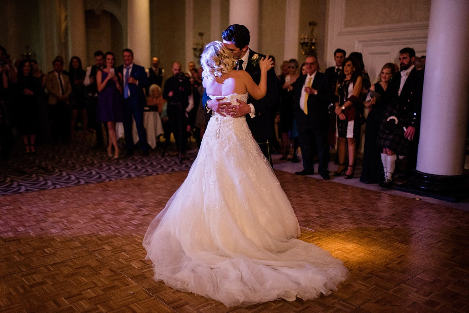 Bride and groom first dance Christmas Wedding Waldorf London
