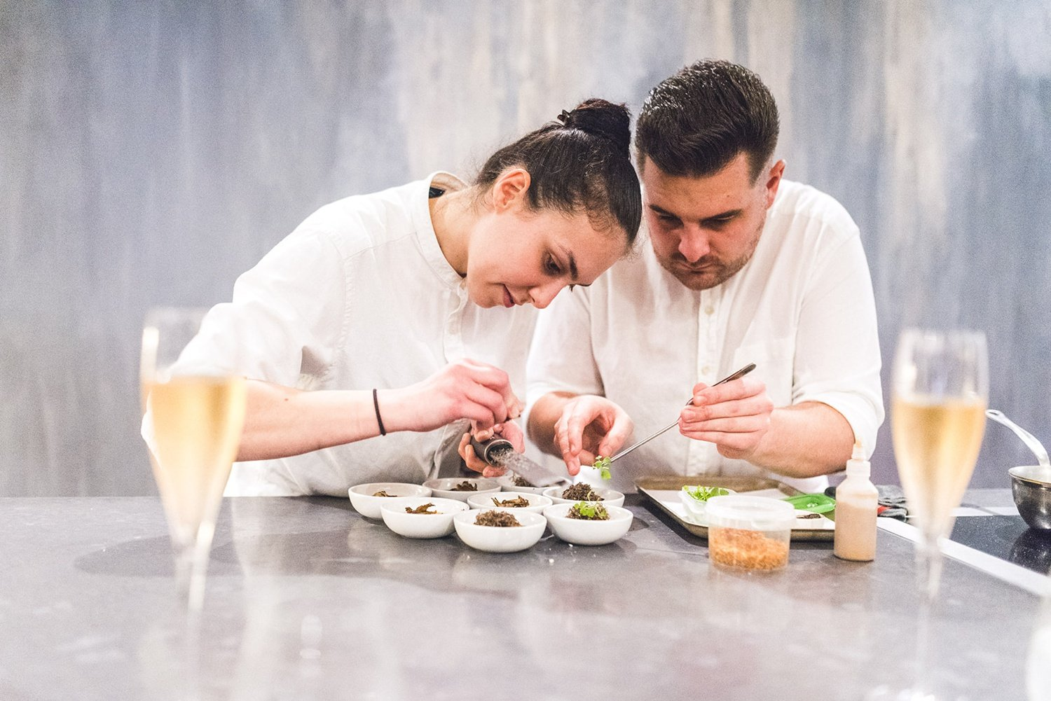 Chefs preparing food An Intimate Islington Town Hall and Aulis London wedding