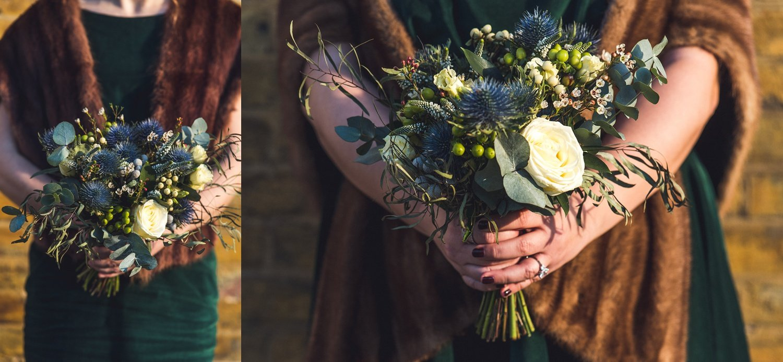 Winter bridesmaids and flowers Christmas wedding Asylum Chapel Peckham