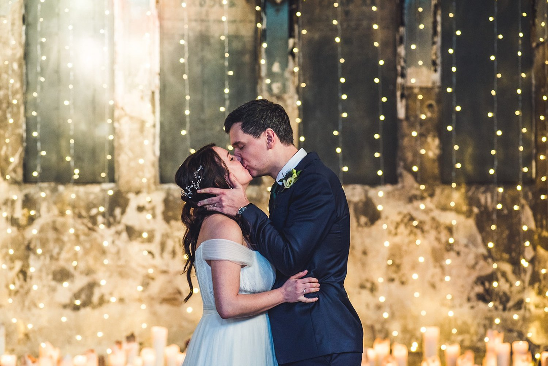 Couple kissing at wedding Documentary wedding photography Asylum chapel