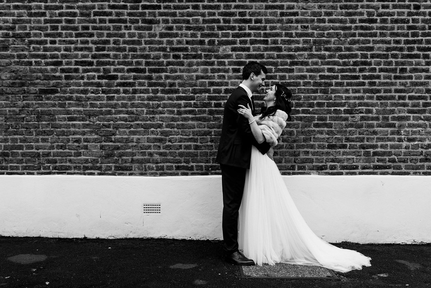 Urban couples portrait in black and white Winter Wedding The Lordship pub Dulwich