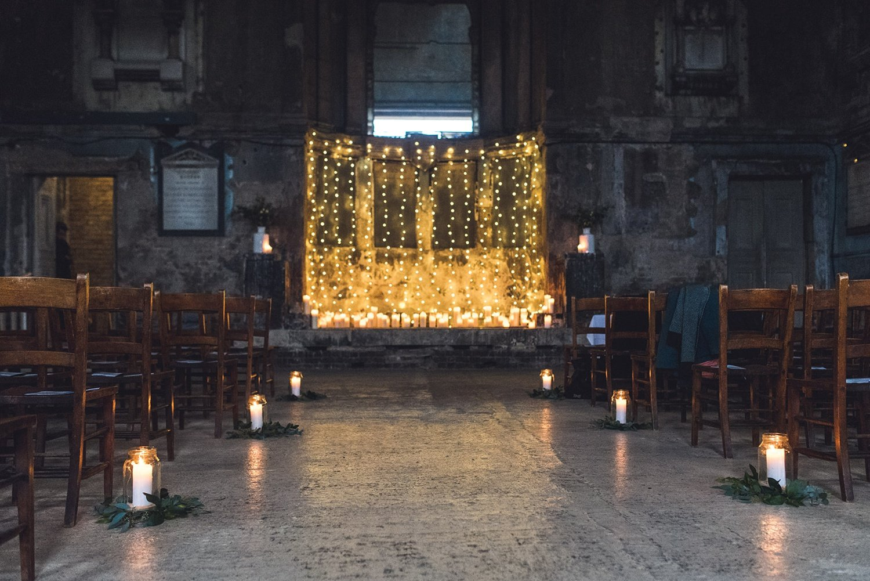 Christmas wedding decor Asylum Chapel Peckham