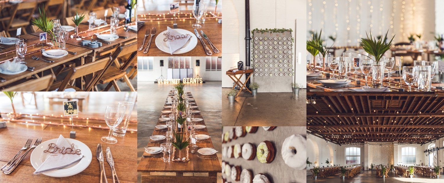 Wedding details with a copper and industrial theme at Trinity Buoy Wharf