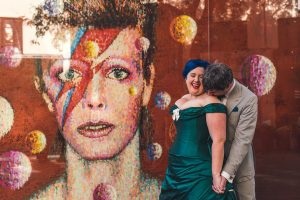 Dr Who Themed Wedding bride and groom in Brixton at David Bowie mural