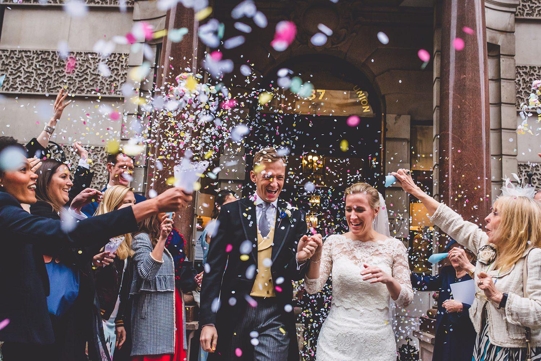 Confetti exit Dartmouth House wedding photography