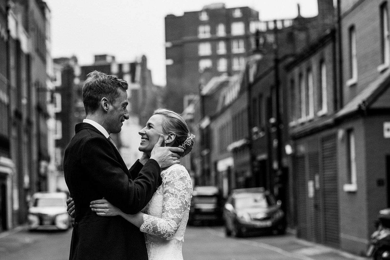 Black and white image of couple in love Dartmouth House wedding photography