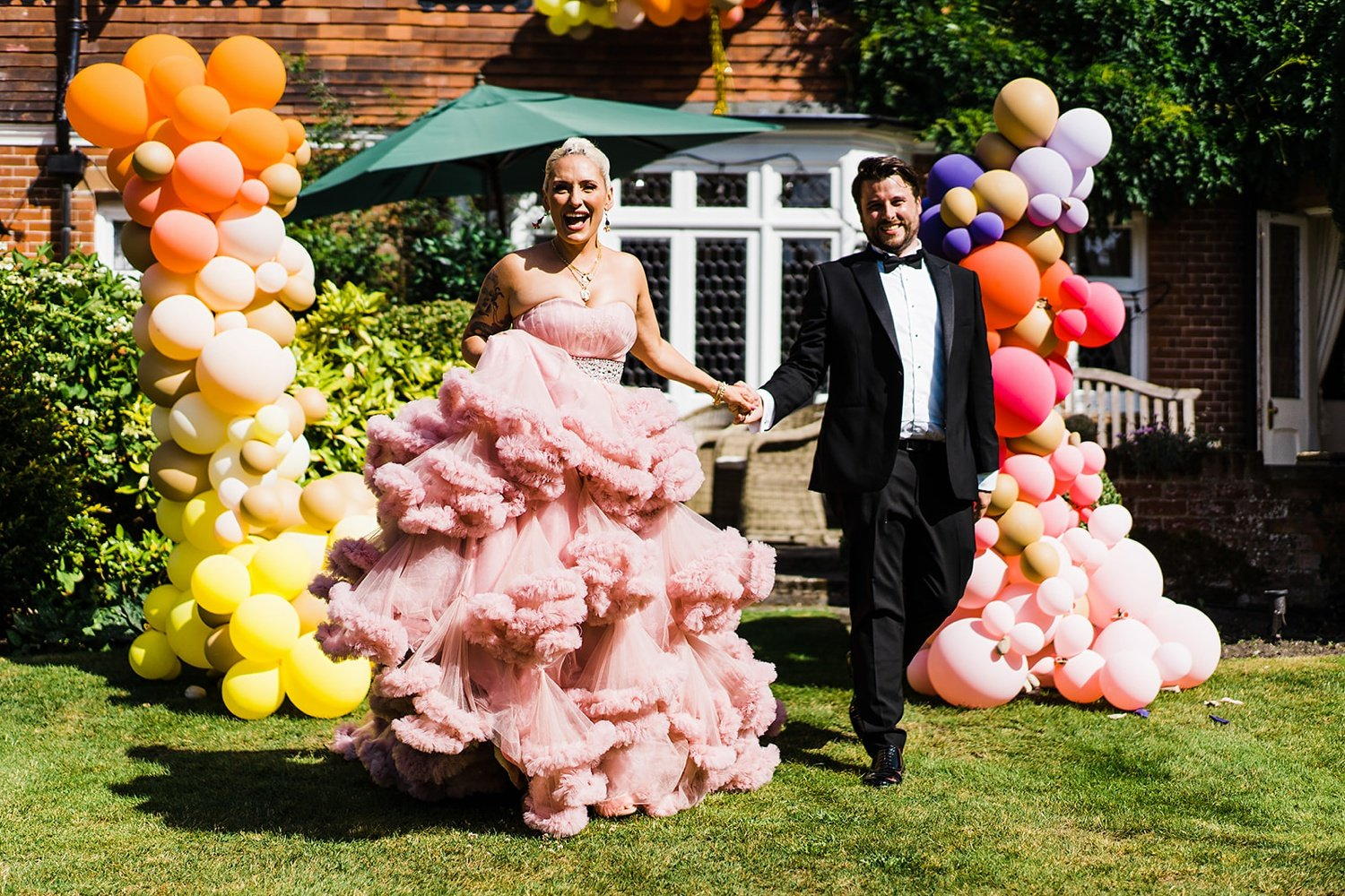 Back garden festival wedding pink wedding dress