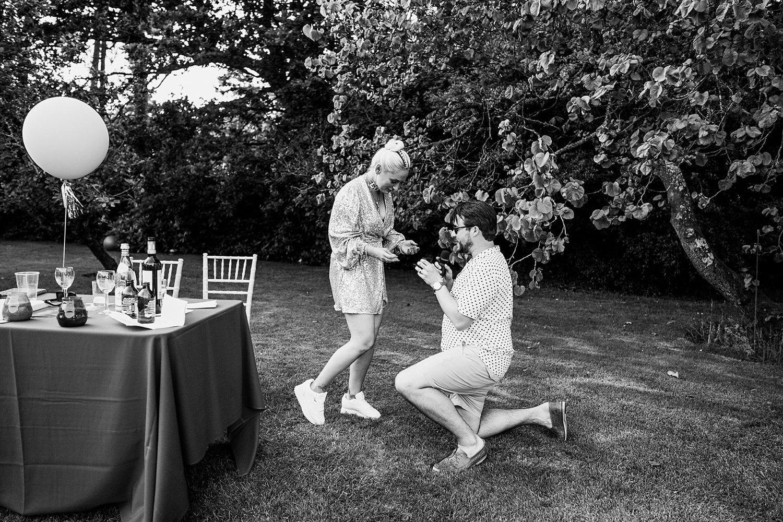 Surprise proposal Birmingham festival back garden wedding