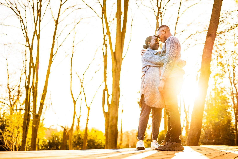 Black couple in love in beautiful golden sunshine